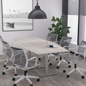 Render of 8 Person Hexagon Conference Table with Metal T-Post Legs
