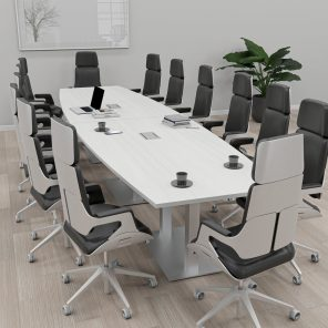 Render of 14 Person Conference Table With Metal Bases
