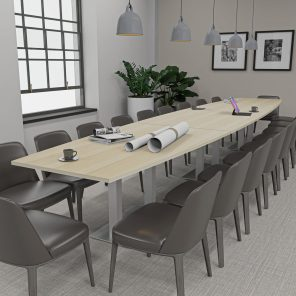 Render of 18 Person Conference Table with Metal Bases