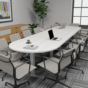 Render of 14 Person Racetrack Conference Table with T Bases
