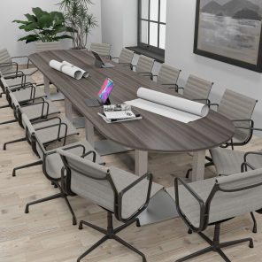 Render of 16 Person Conference Table with Metal Bases