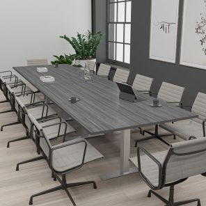 Render of 14 Person Rectangle Conference Table with T-Bases