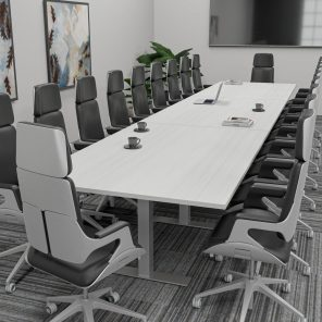 Render of 18' Rectangle-Shaped Conference Table with T-Bases