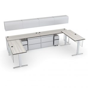 Render of Executive L-Shaped Desk Suite With Sit to Stand Desk