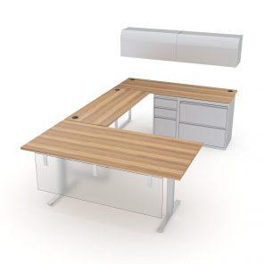 Render of U-Shaped Office Suite   6x10   Indigo Desk Series