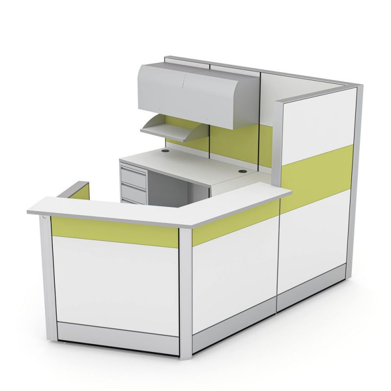Render of 120 Degree Modern Reception Cubicle