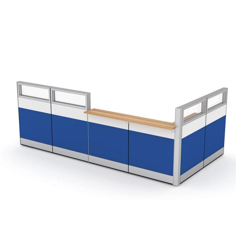 Render of L-shaped office reception desk