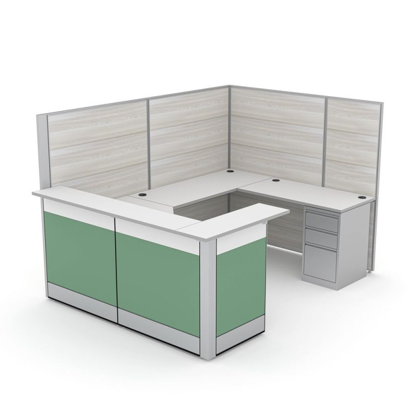 Render of U-Shaped Reception Cubicle with Transaction Tops