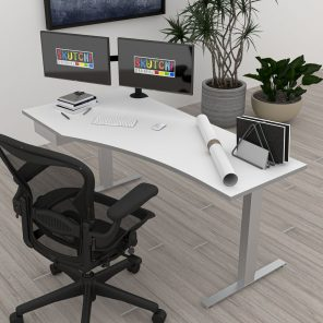 Render of Modern Sit-to-Stand Desk with Drawer